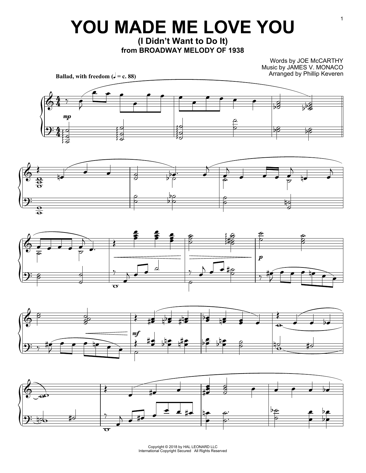 You Made Me Love You (I Didn't Want To Do It) [Jazz version] (arr. Phillip Keveren) (Piano Solo)