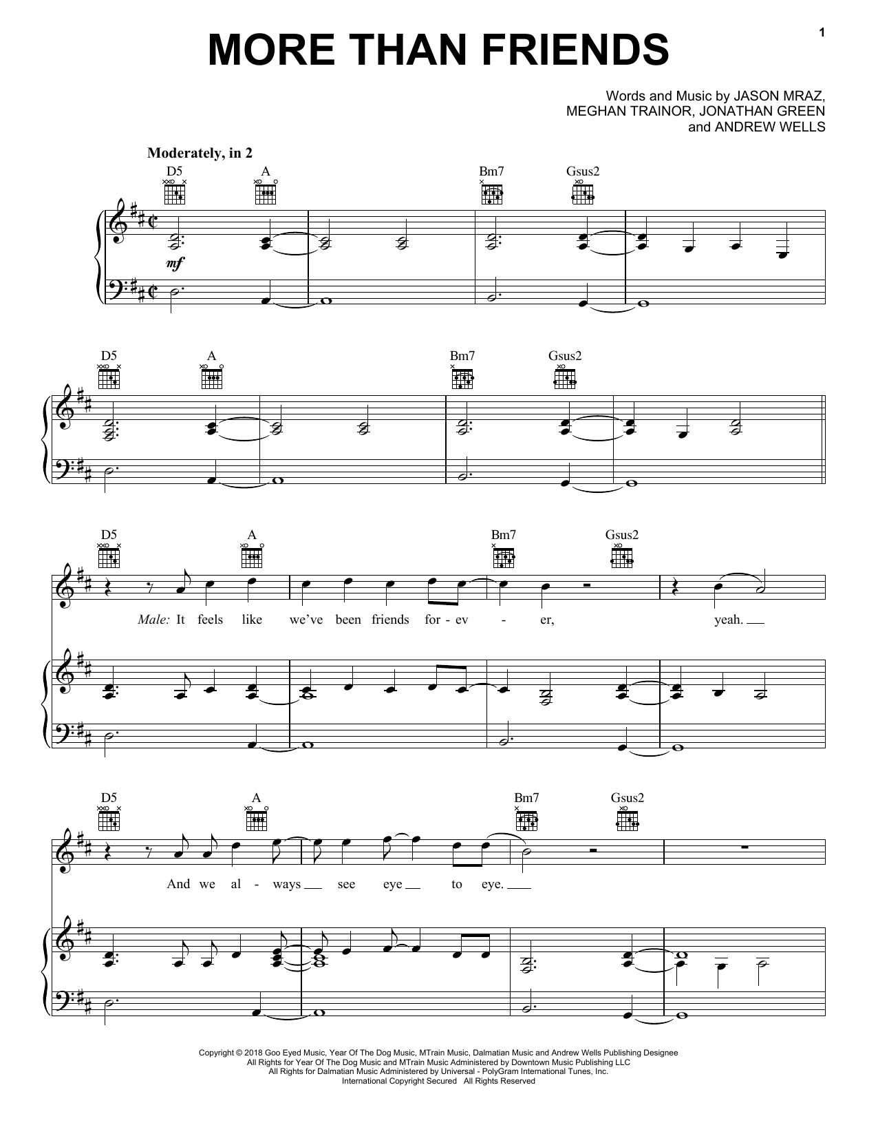More Than Friends (feat. Meghan Trainor) - Print Sheet Music Now