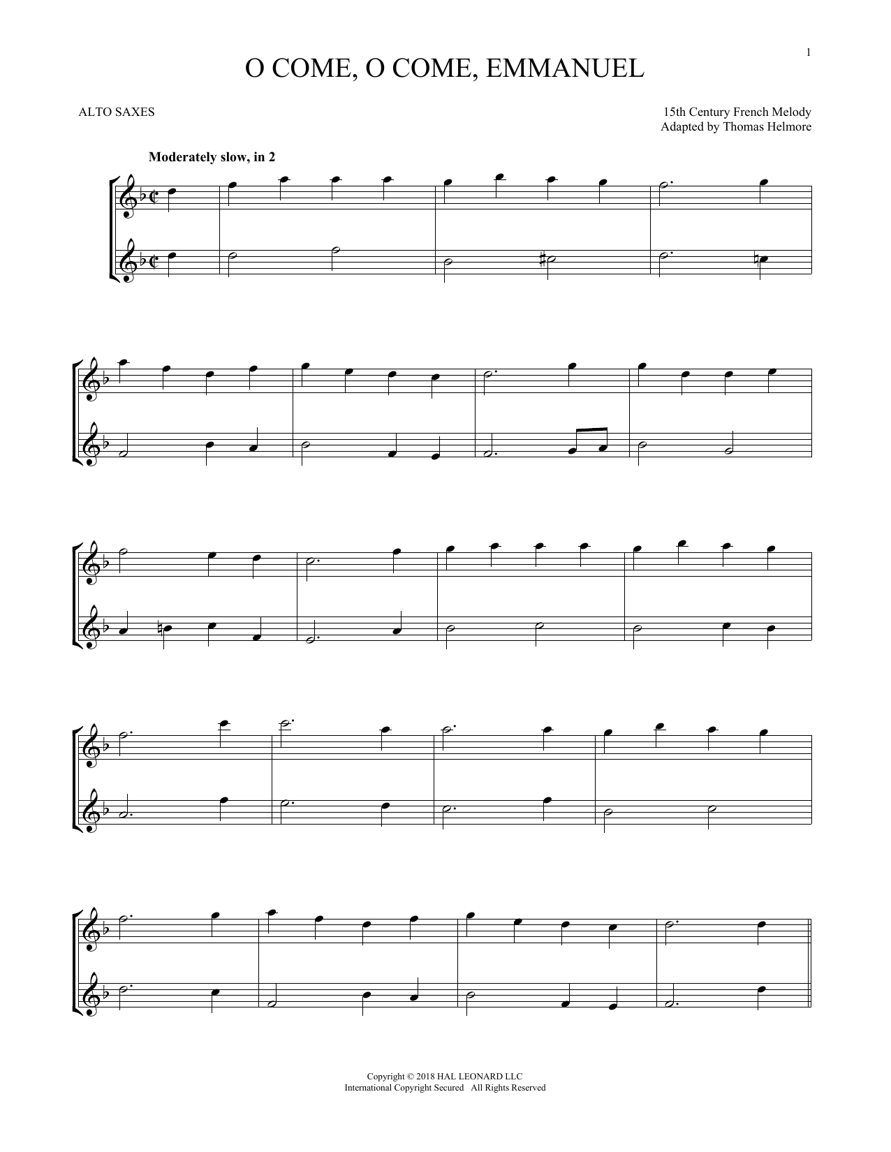 O Come, O Come, Emmanuel (Alto Sax Duet)