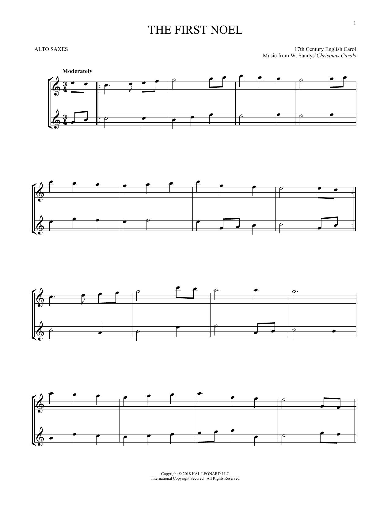 The First Noel (Alto Sax Duet)