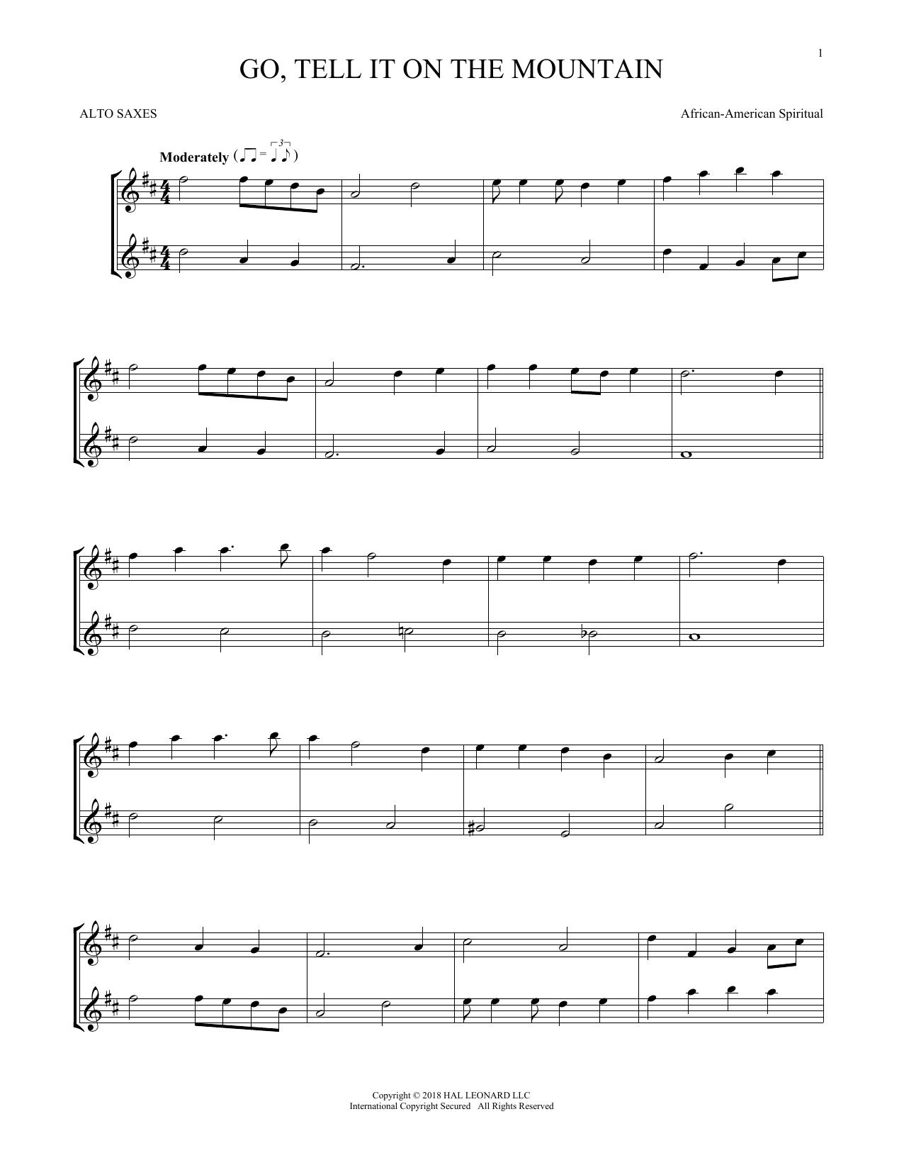 Go, Tell It On The Mountain (Alto Saxophone Duet)