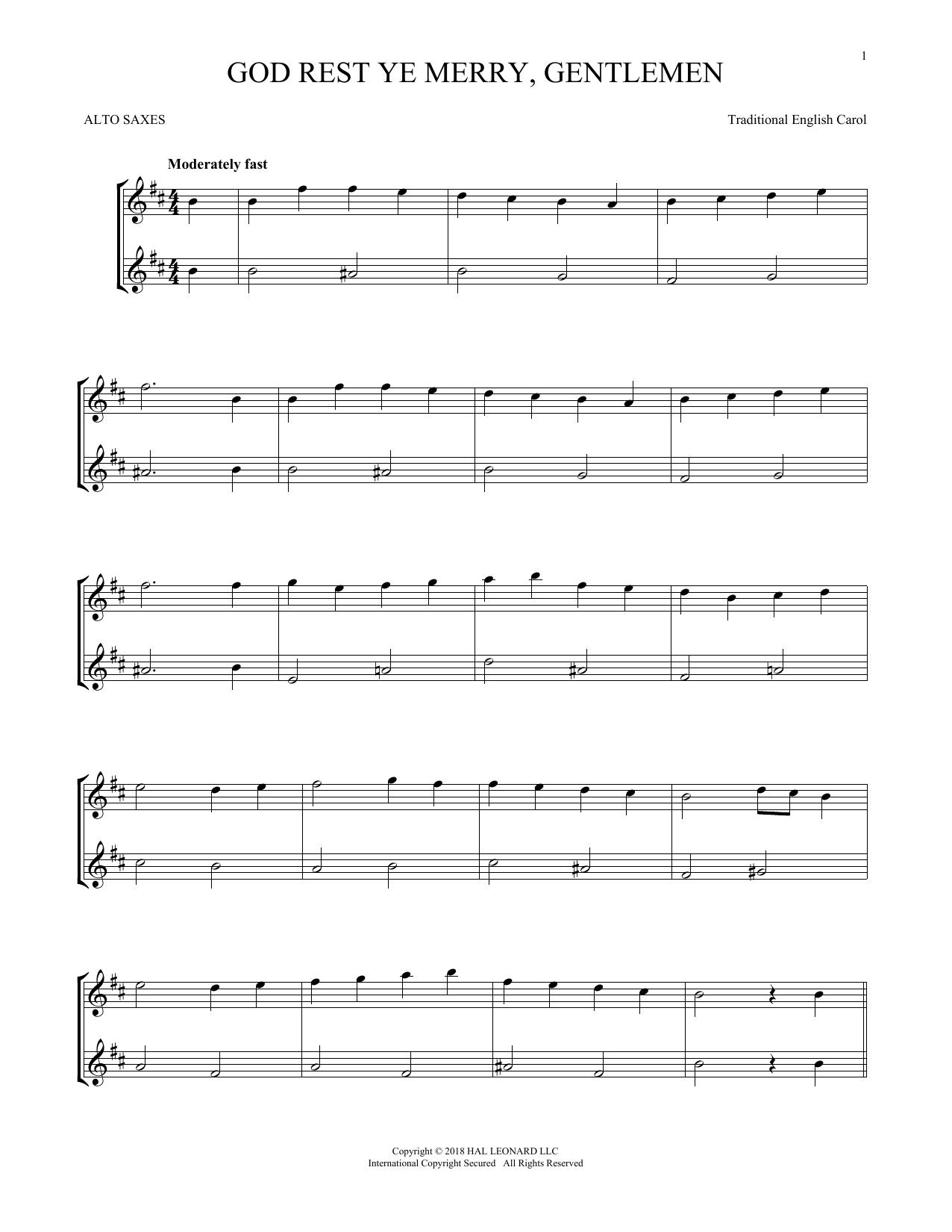 God Rest Ye Merry, Gentlemen (Alto Sax Duet)