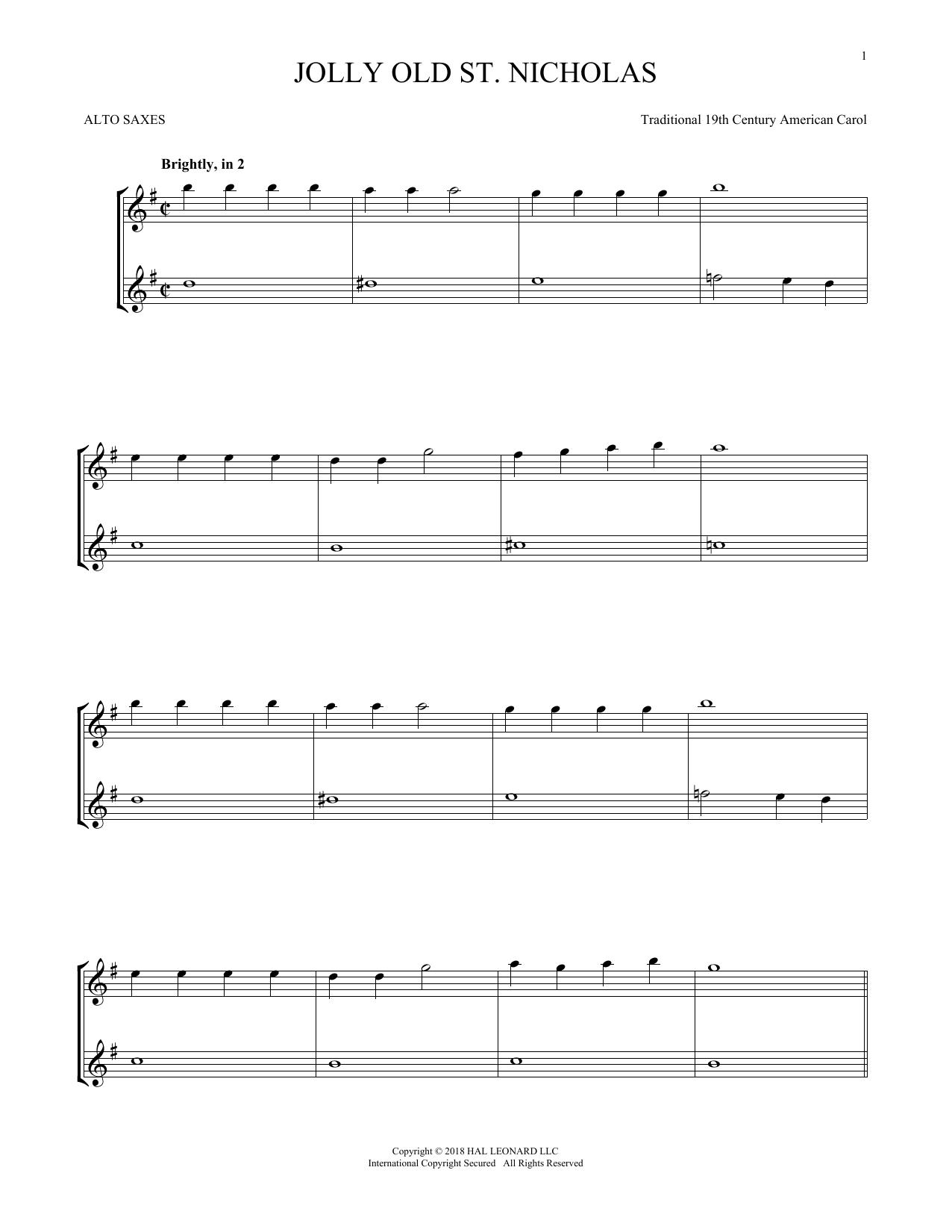 Jolly Old St. Nicholas (Alto Sax Duet)