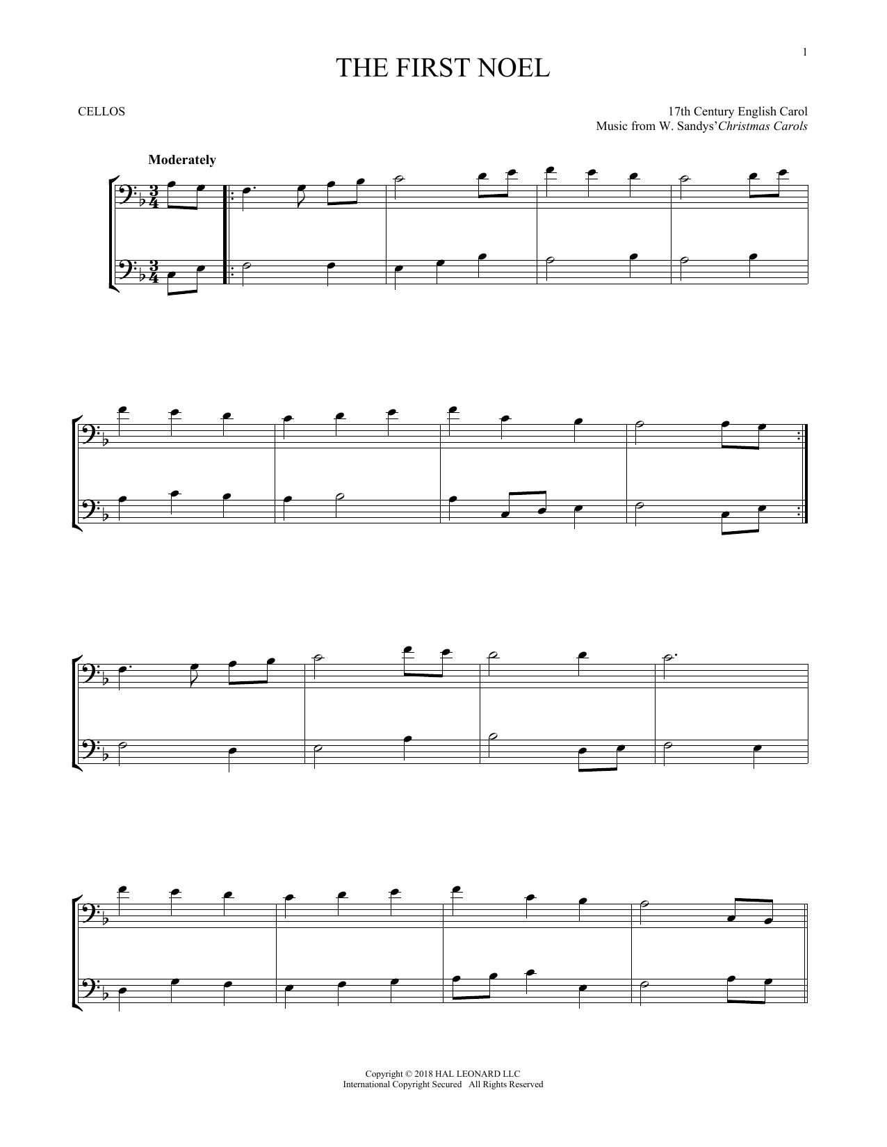 The First Noel (Cello Duet)