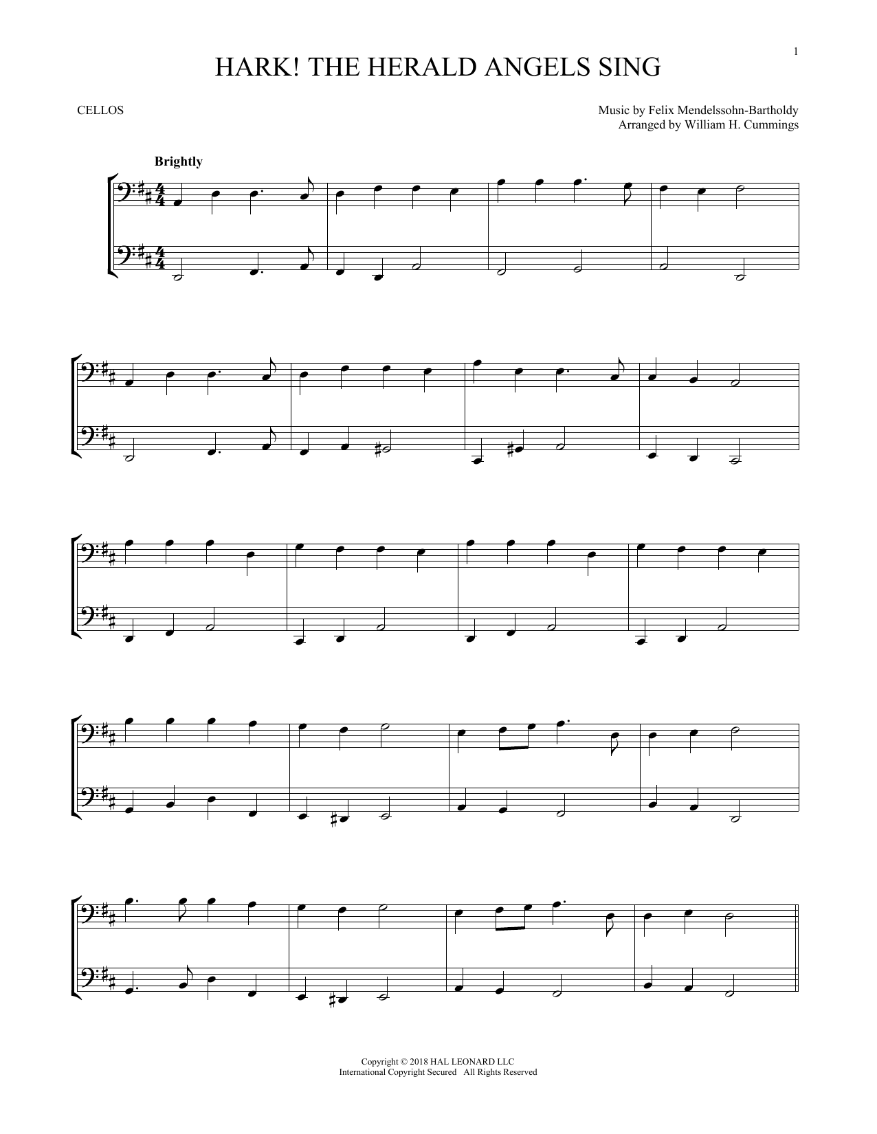 Hark The Herald Angels Sing Cello Duet Print Sheet Music Now