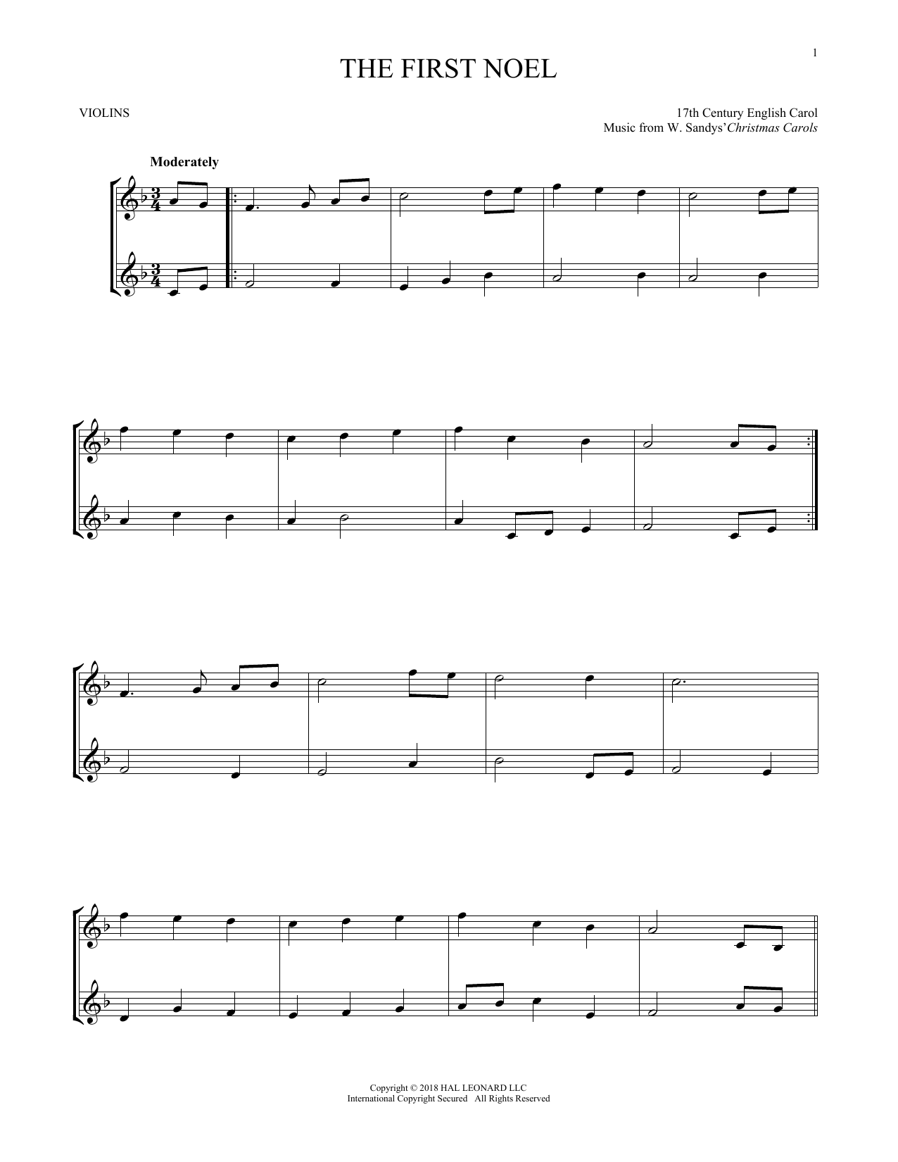 The First Noel (Violin Duet)