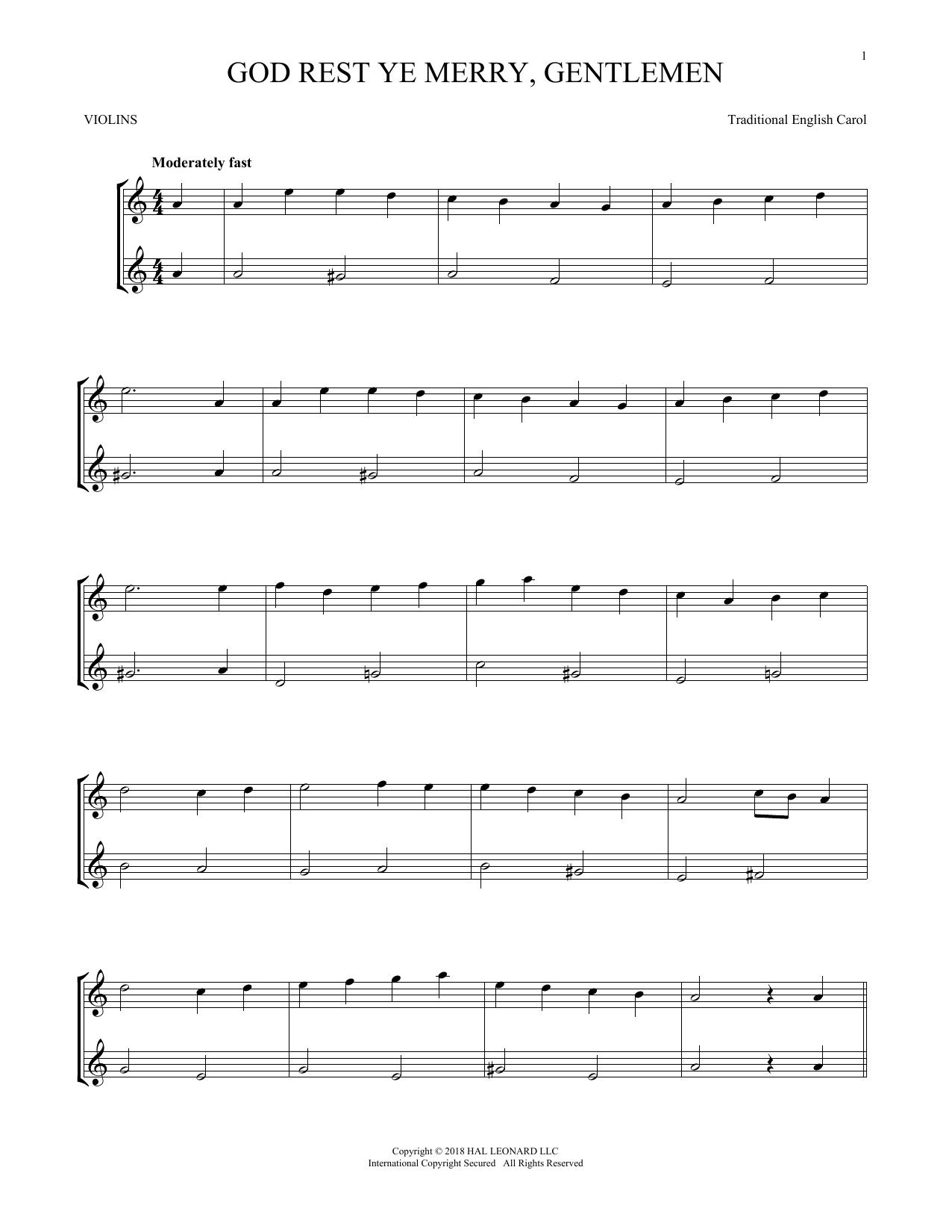 God Rest Ye Merry, Gentlemen (Violin Duet)