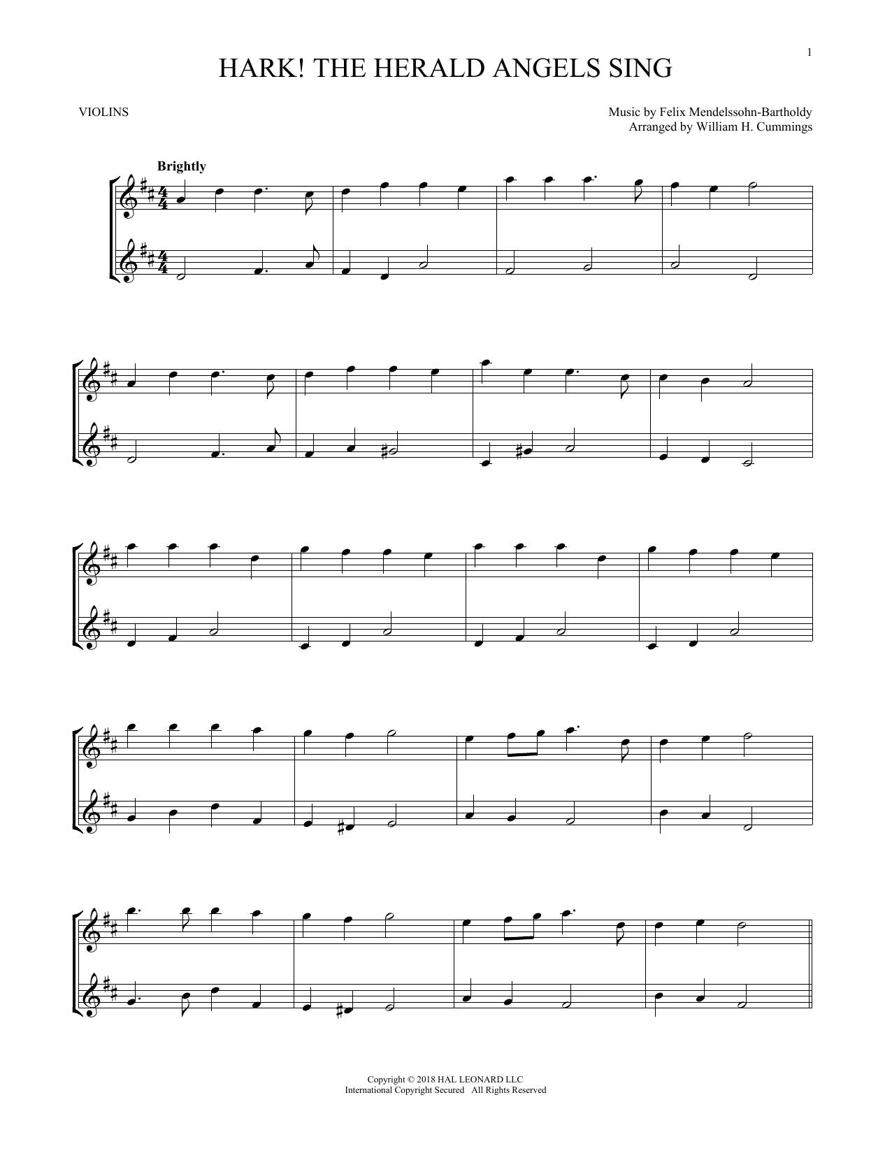 Hark! The Herald Angels Sing (Violin Duet)