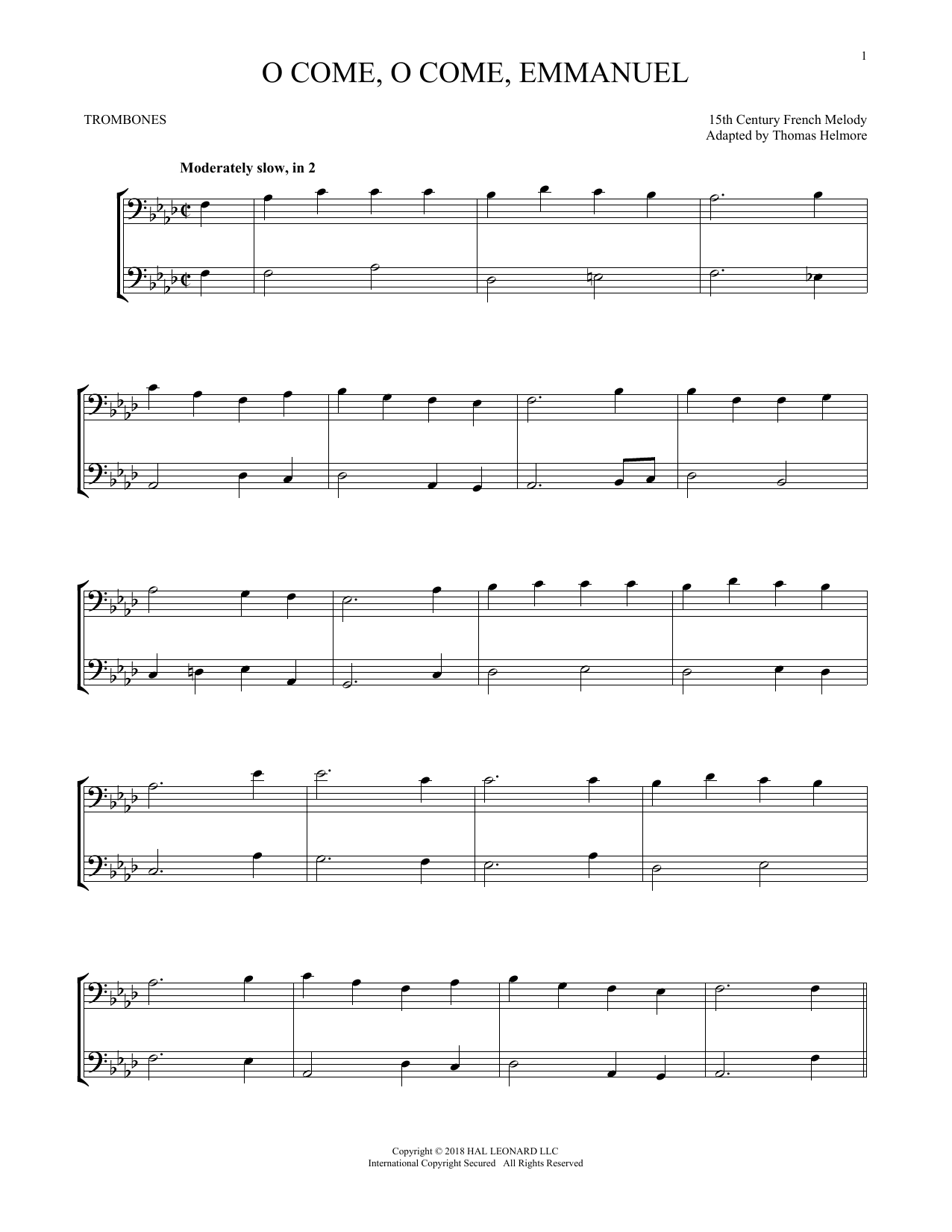O Come, O Come, Emmanuel (Trombone Transcription)
