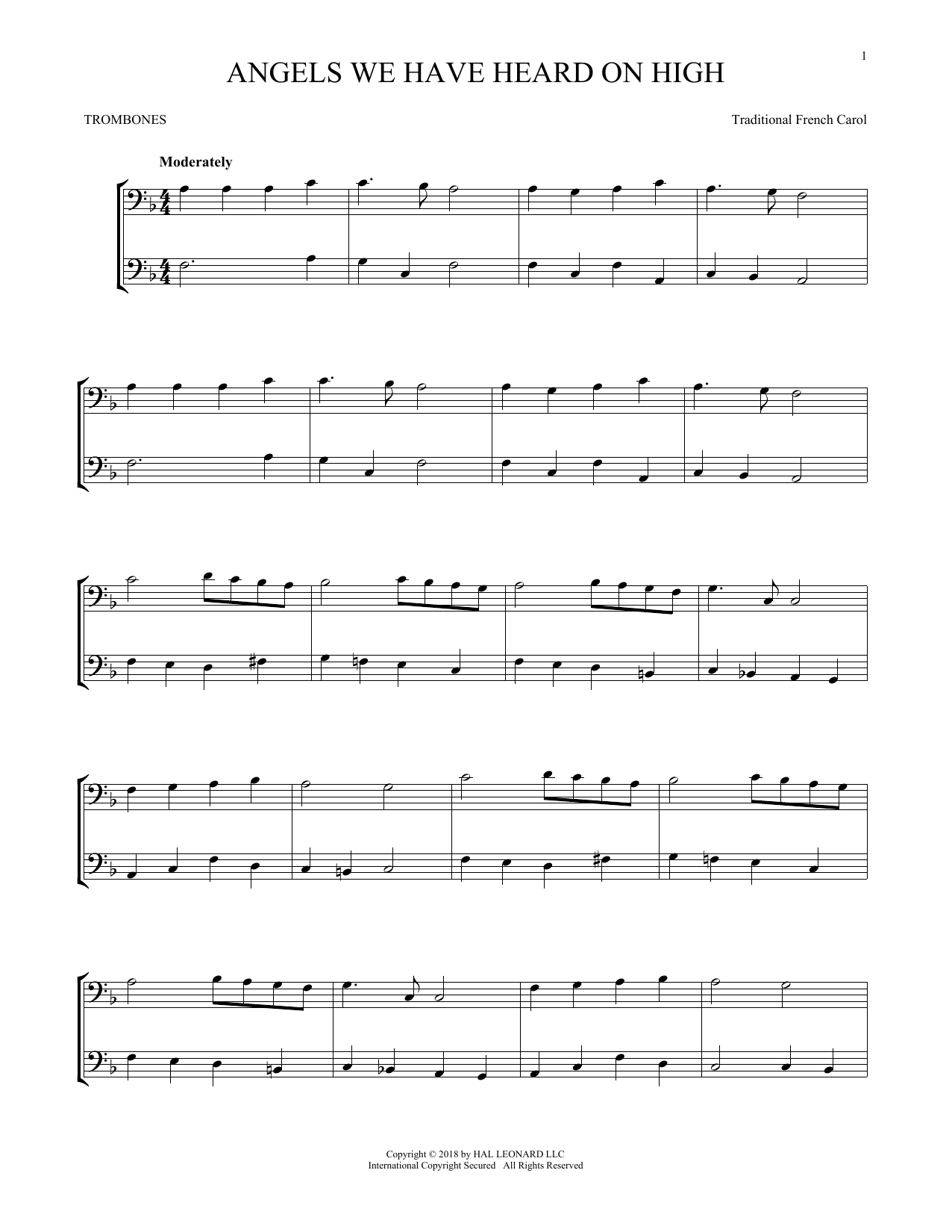 Angels We Have Heard On High (Trombone Transcription)