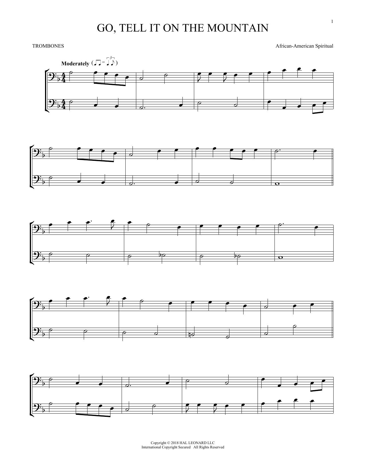 Go, Tell It On The Mountain (Trombone Transcription)