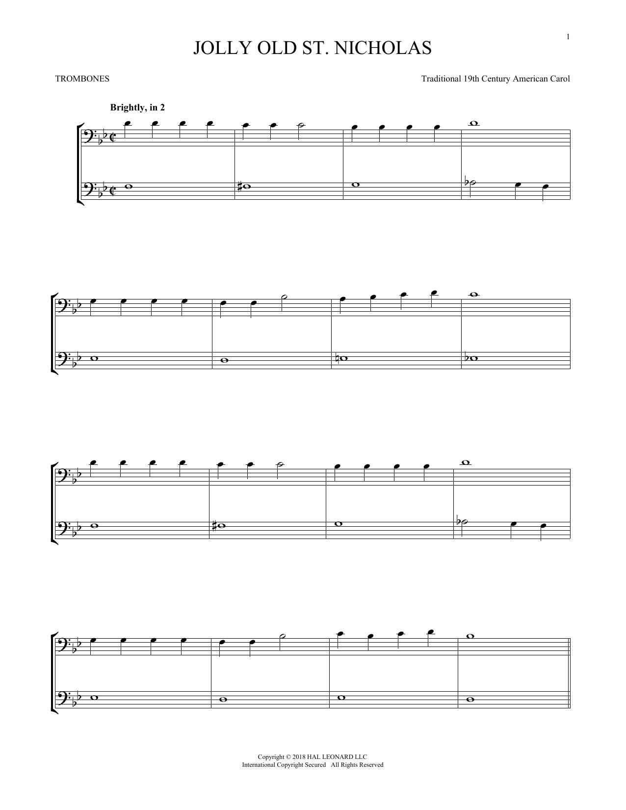 Jolly Old St. Nicholas (Trombone Transcription)