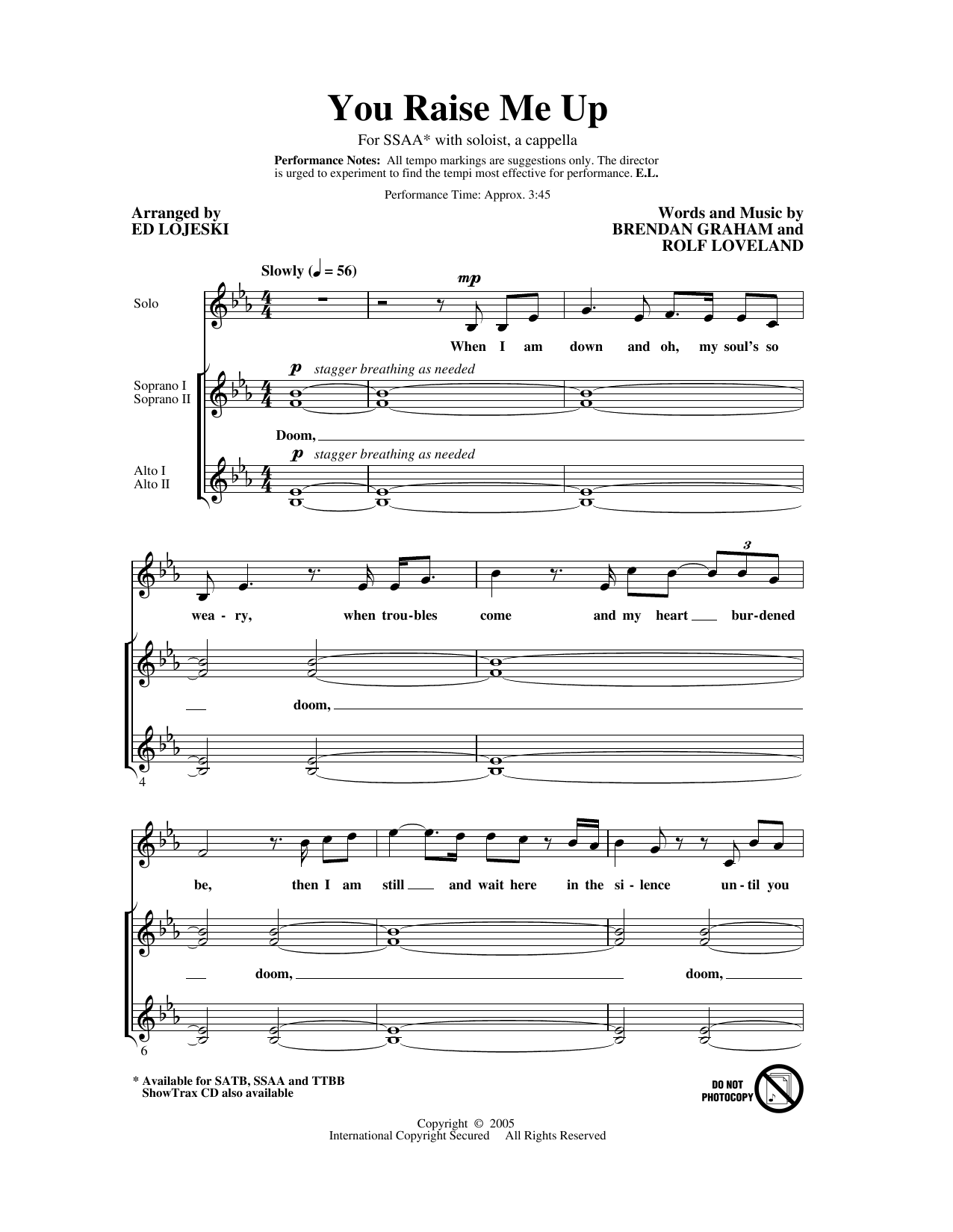 You Raise Me Up (arr. Ed Lojeski) (SSA Choir)