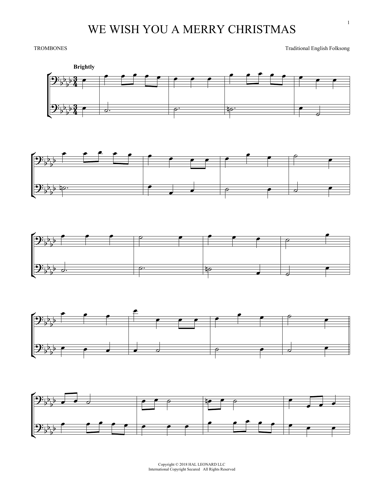 We Wish You A Merry Christmas (Trombone Transcription)