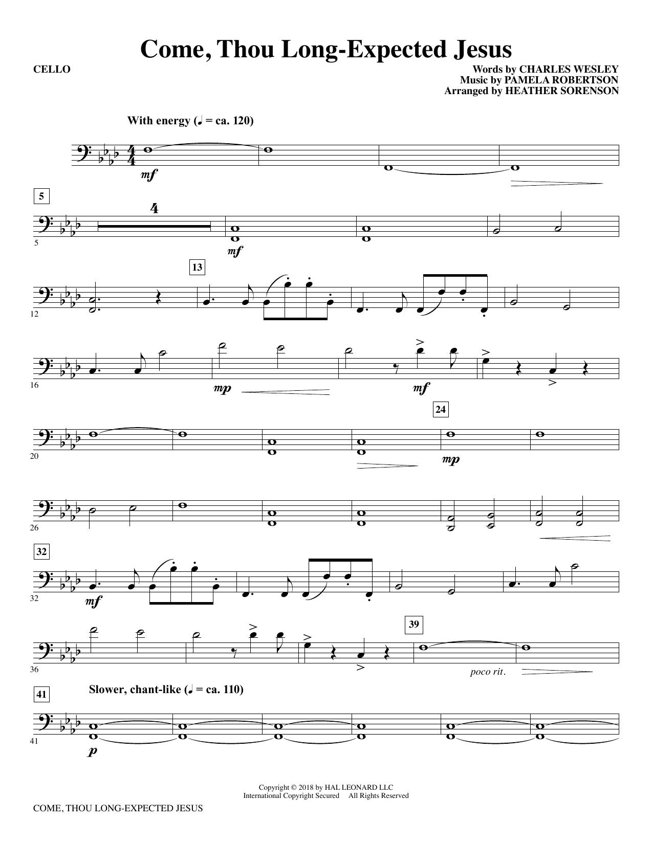 Come, Thou Long-Expected Jesus (arr. Heather Sorenson) - Cello (Choir Instrumental Pak)