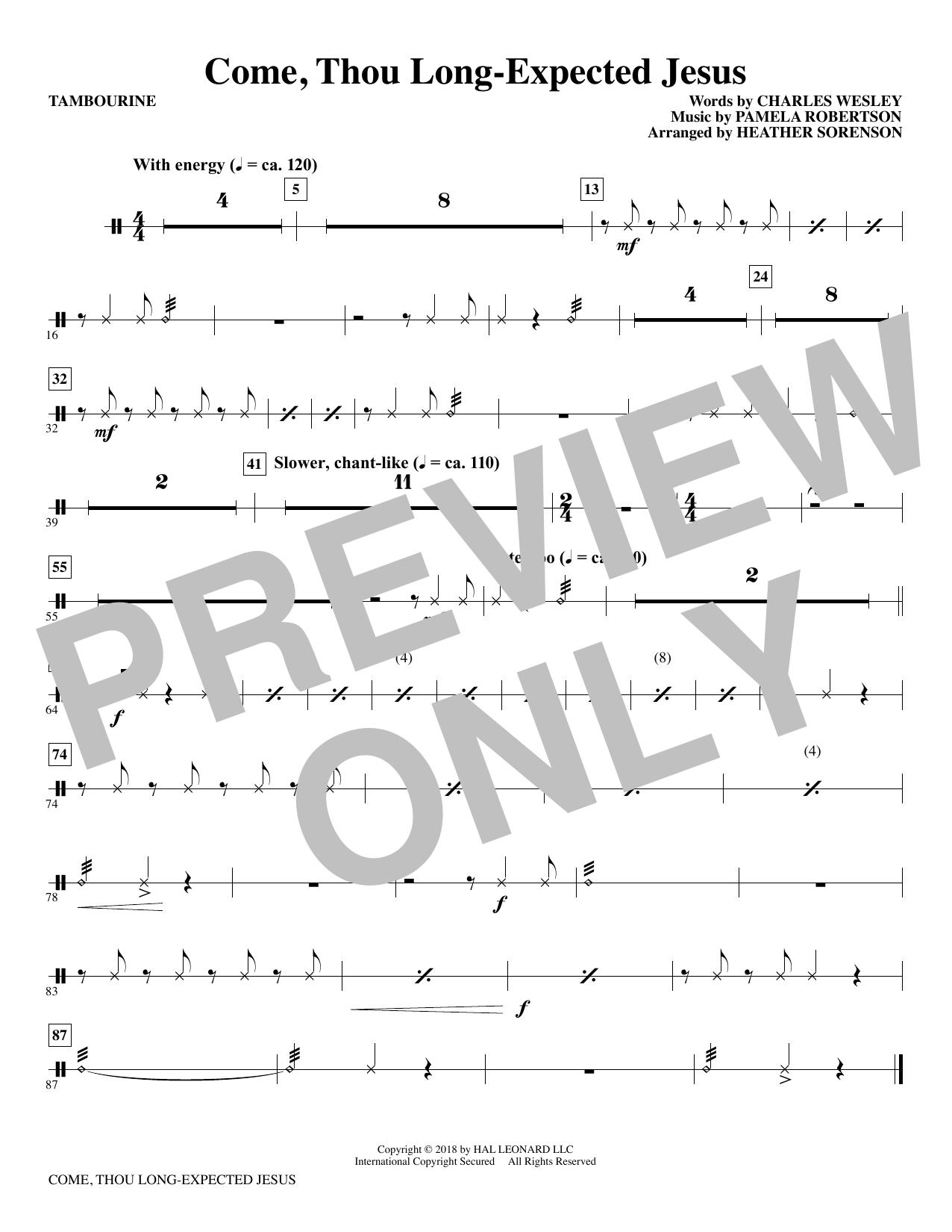 Come, Thou Long-Expected Jesus (arr. Heather Sorenson) - Tambourine (Choir Instrumental Pak)