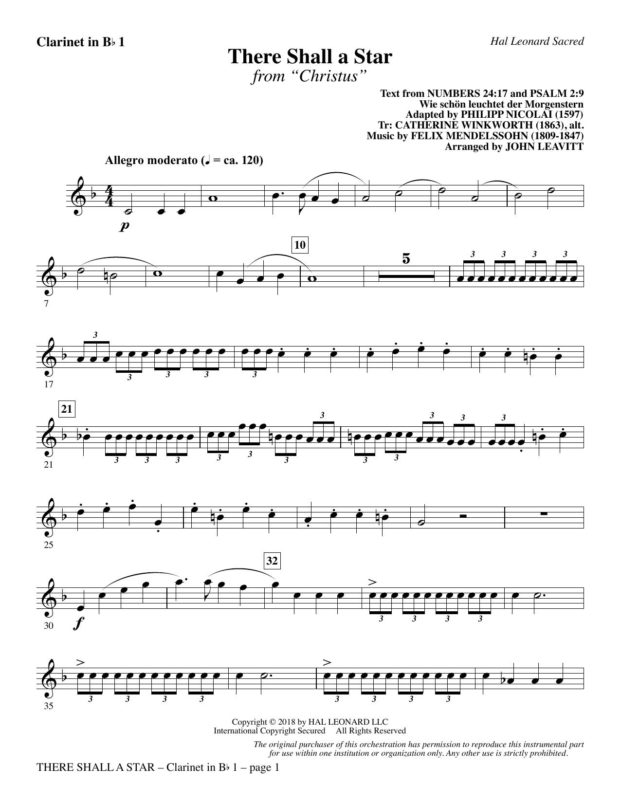 There Shall a Star (arr. John Leavitt) - Bb Clarinet 1 (Choir Instrumental Pak)