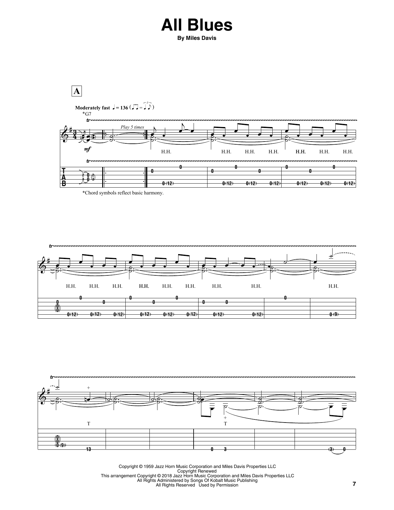 All Blues (Solo Guitar Tab)