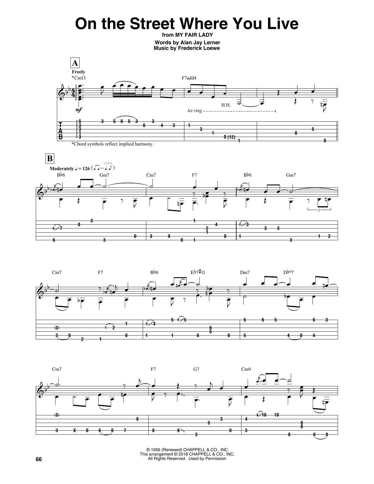 On The Street Where You Live (Solo Guitar Tab)