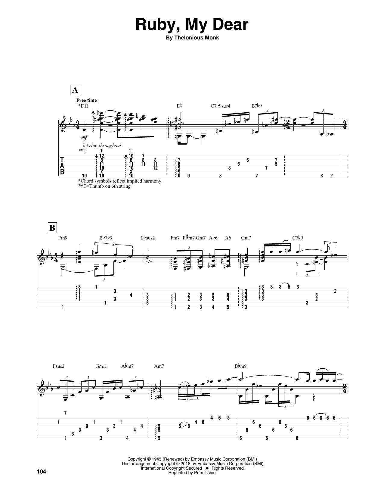 Ruby, My Dear (Solo Guitar Tab)