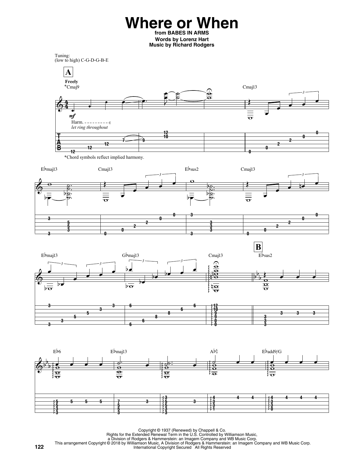 Where Or When (Solo Guitar Tab)