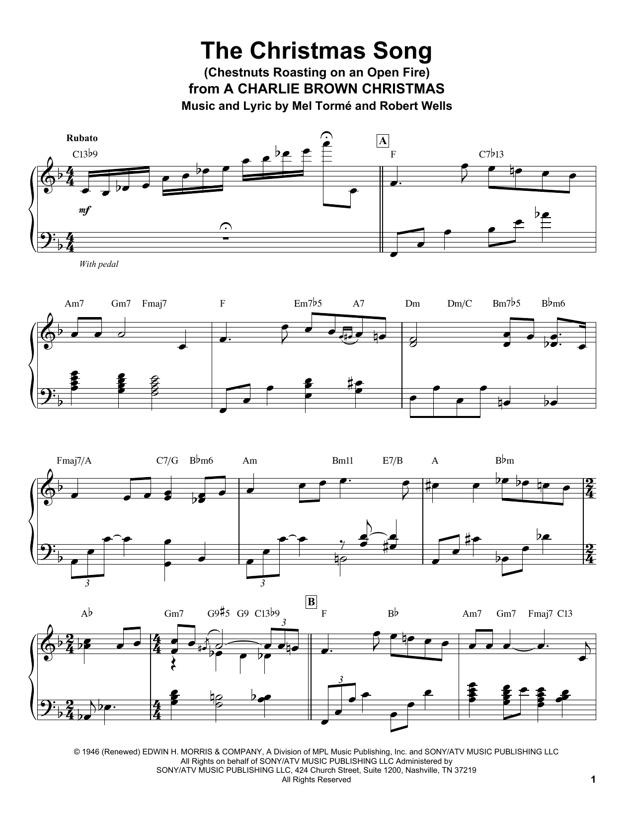 The Christmas Song (Chestnuts Roasting On An Open Fire) (Piano Transcription)