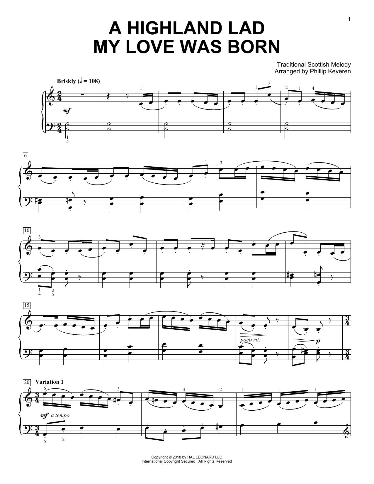 A Highland Lad My Love Was Born [Classical version] (arr. Phillip Keveren) (Piano Solo)