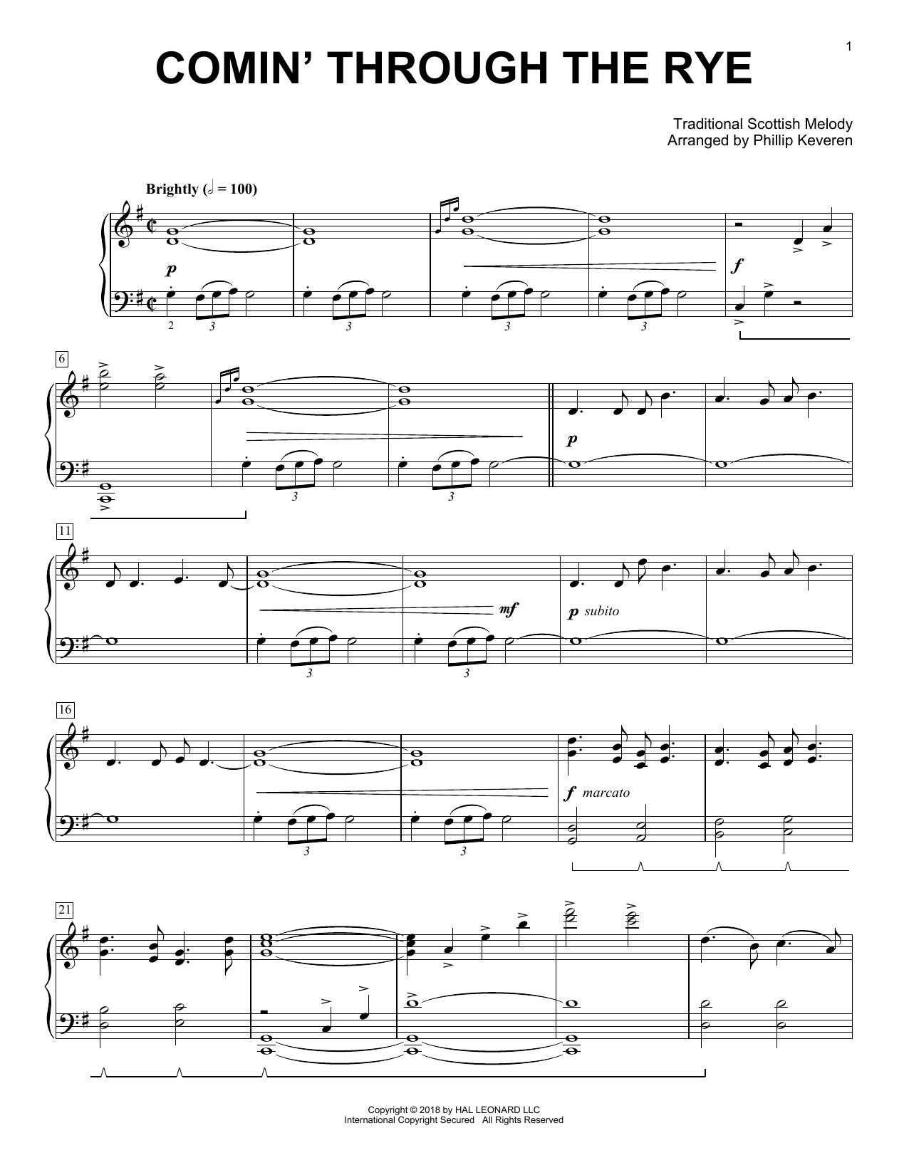 Comin' Through The Rye [Classical version] (arr. Phillip Keveren) (Piano Solo)