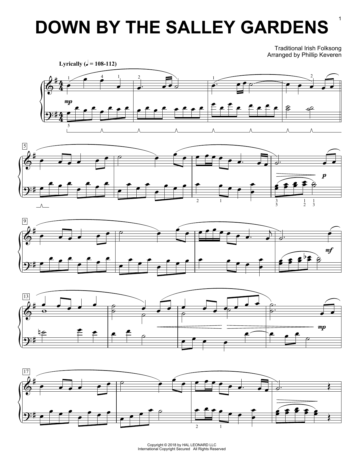 Down By The Salley Gardens (arr. Phillip Keveren) (Piano Solo)