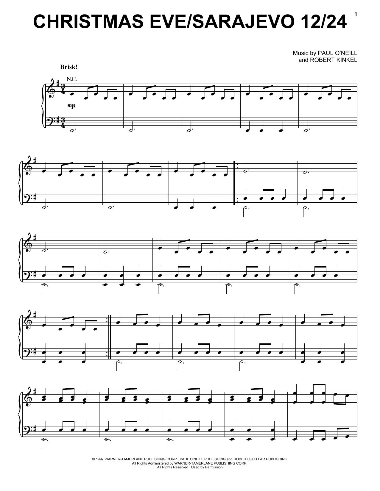 Christmas In Sarajevo.Christmas Eve Sarajevo 12 24 Piano Vocal Guitar Right Hand Melody