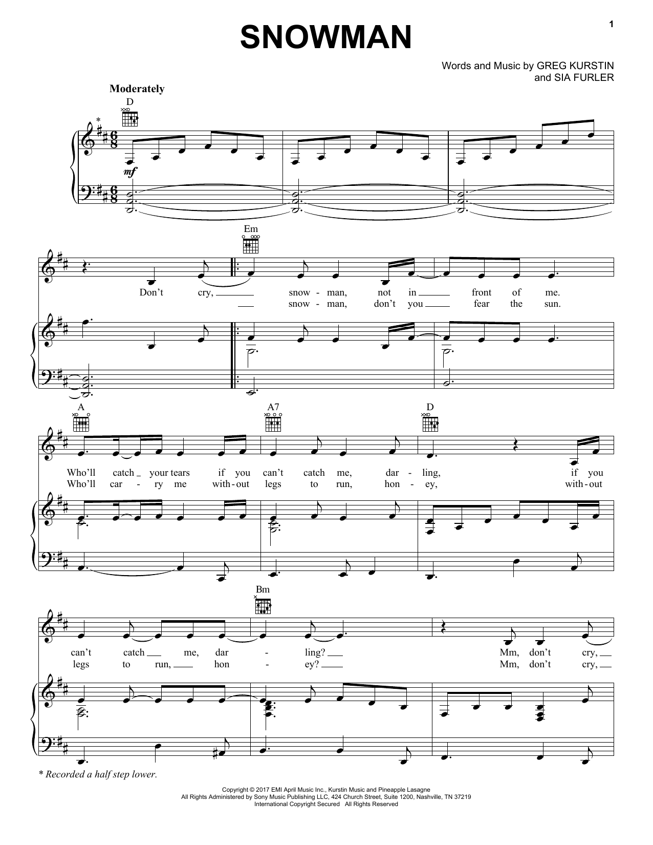 Snowman (Piano, Vocal & Guitar (Right-Hand Melody))