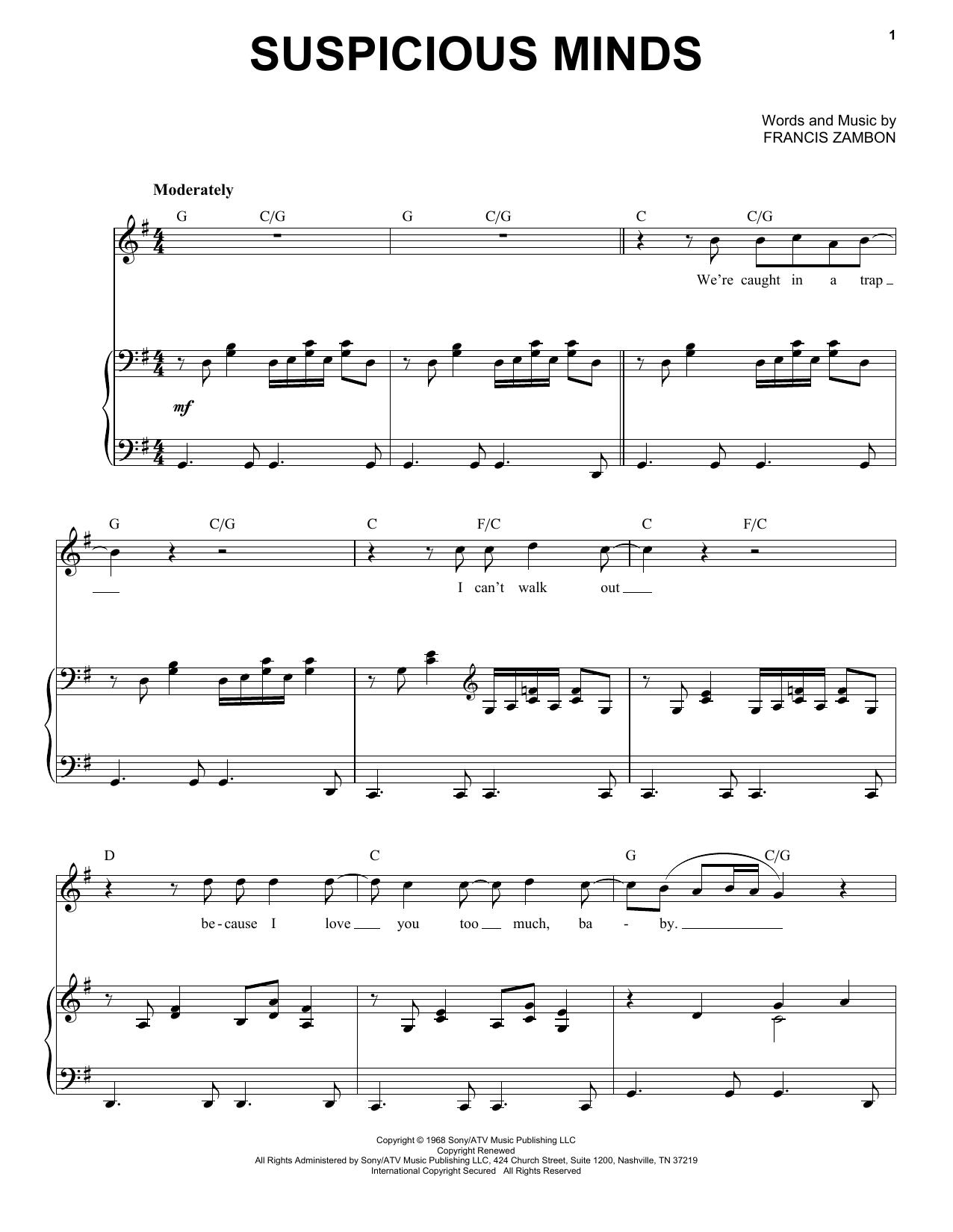 Suspicious Minds (Piano & Vocal)