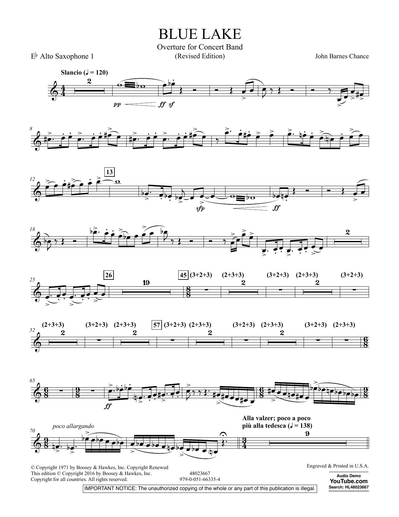Blue Lake (Overture for Concert Band) - Eb Alto Saxophone 1 (Concert Band)
