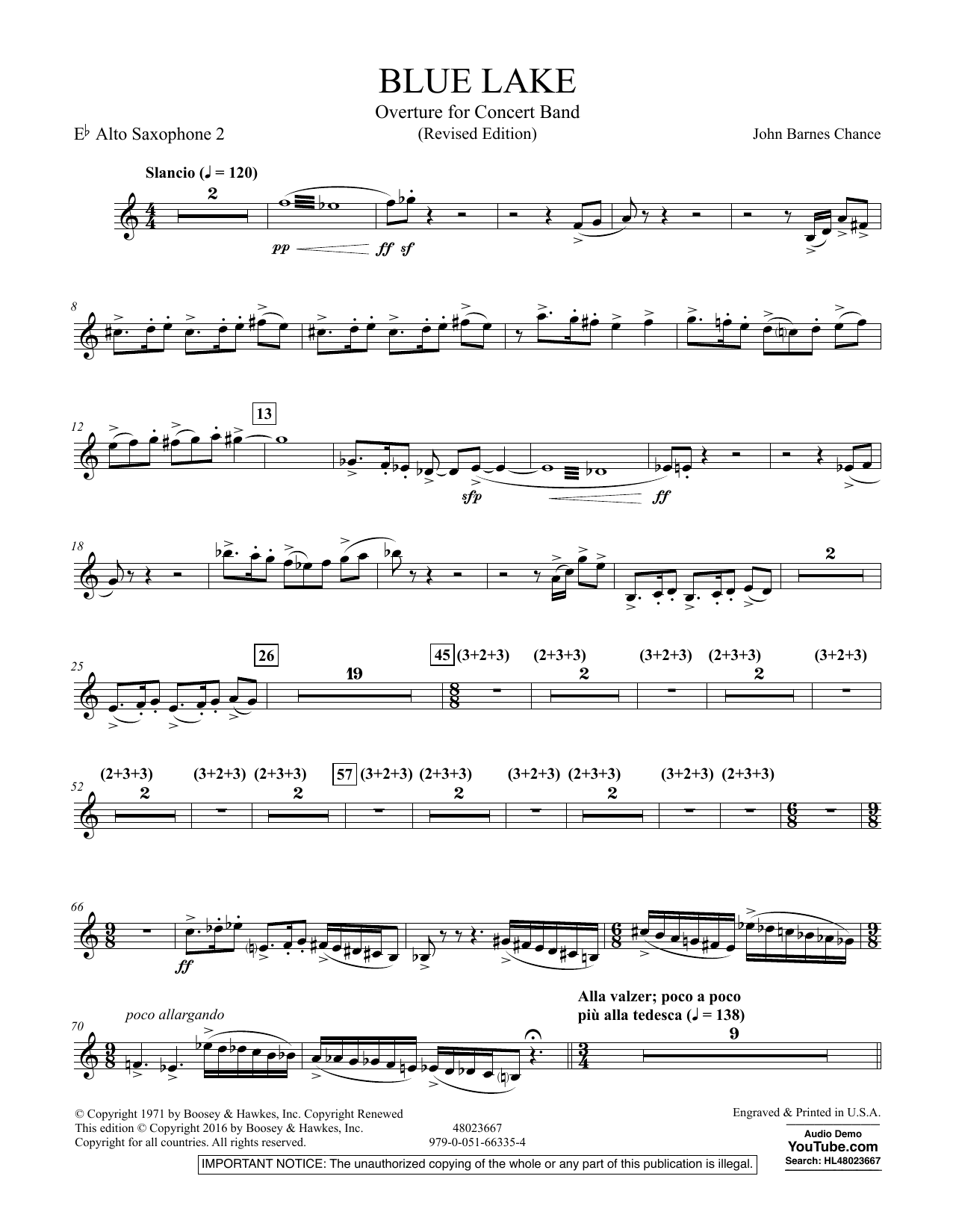 Blue Lake (Overture for Concert Band) - Eb Alto Saxophone 2 (Concert Band)