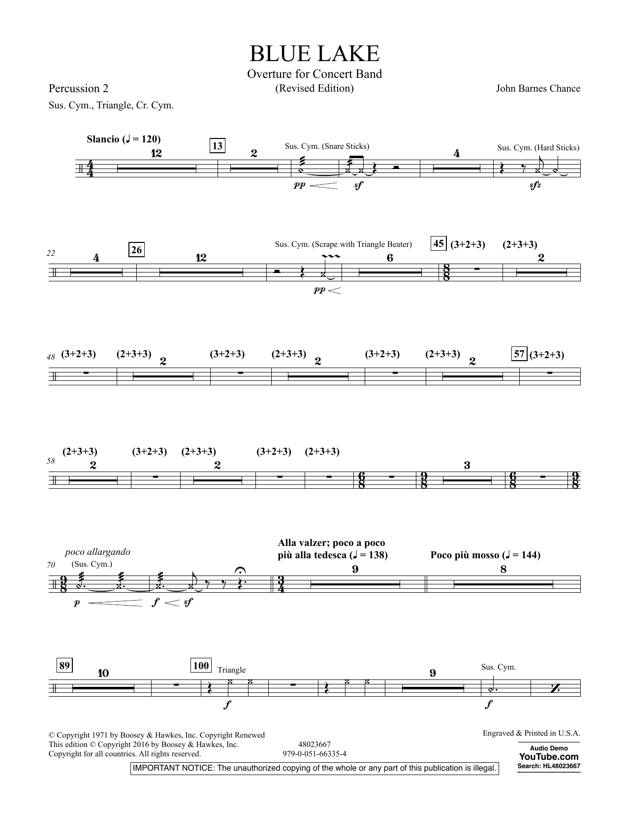 Blue Lake (Overture for Concert Band) - Percussion 2 (Concert Band)