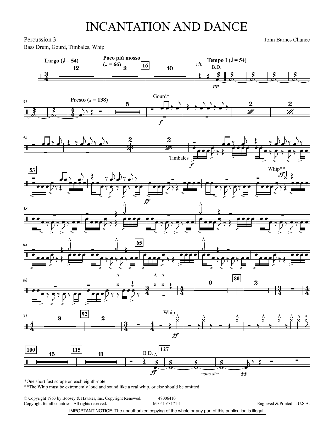 Incantation and Dance - Percussion 3 (Concert Band)