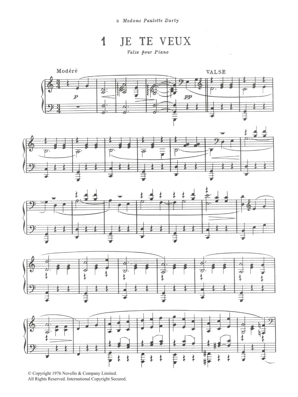 Je Te Veux Sheet Music