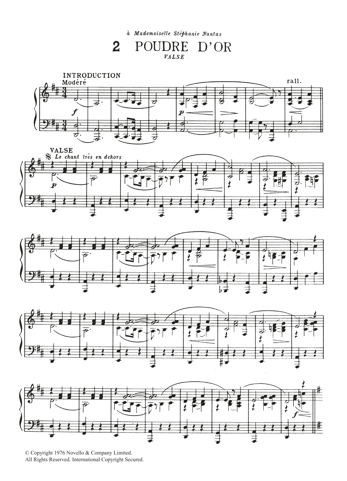 Poudre d'Or Sheet Music