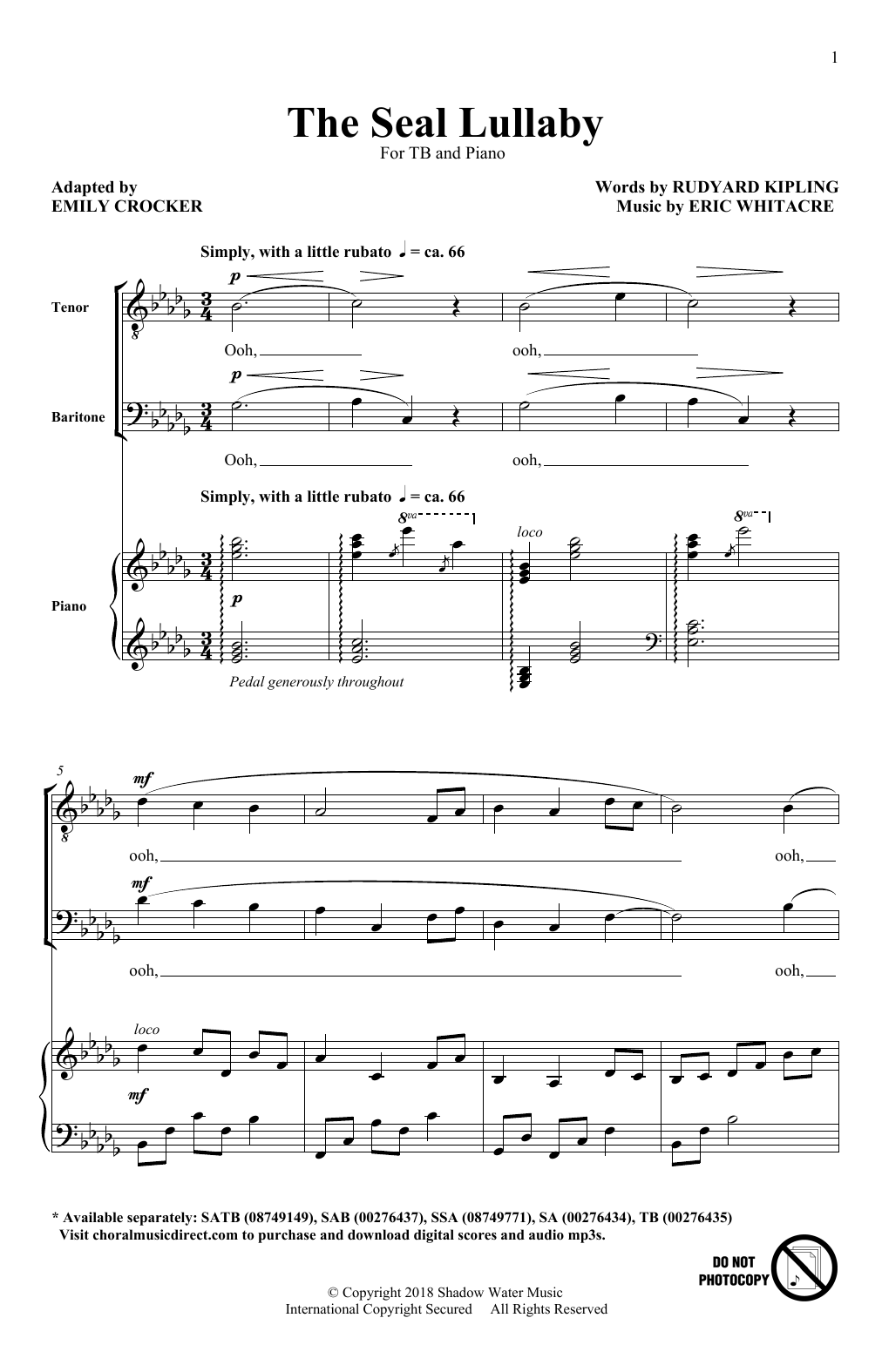 The Seal Lullaby Sheet Music