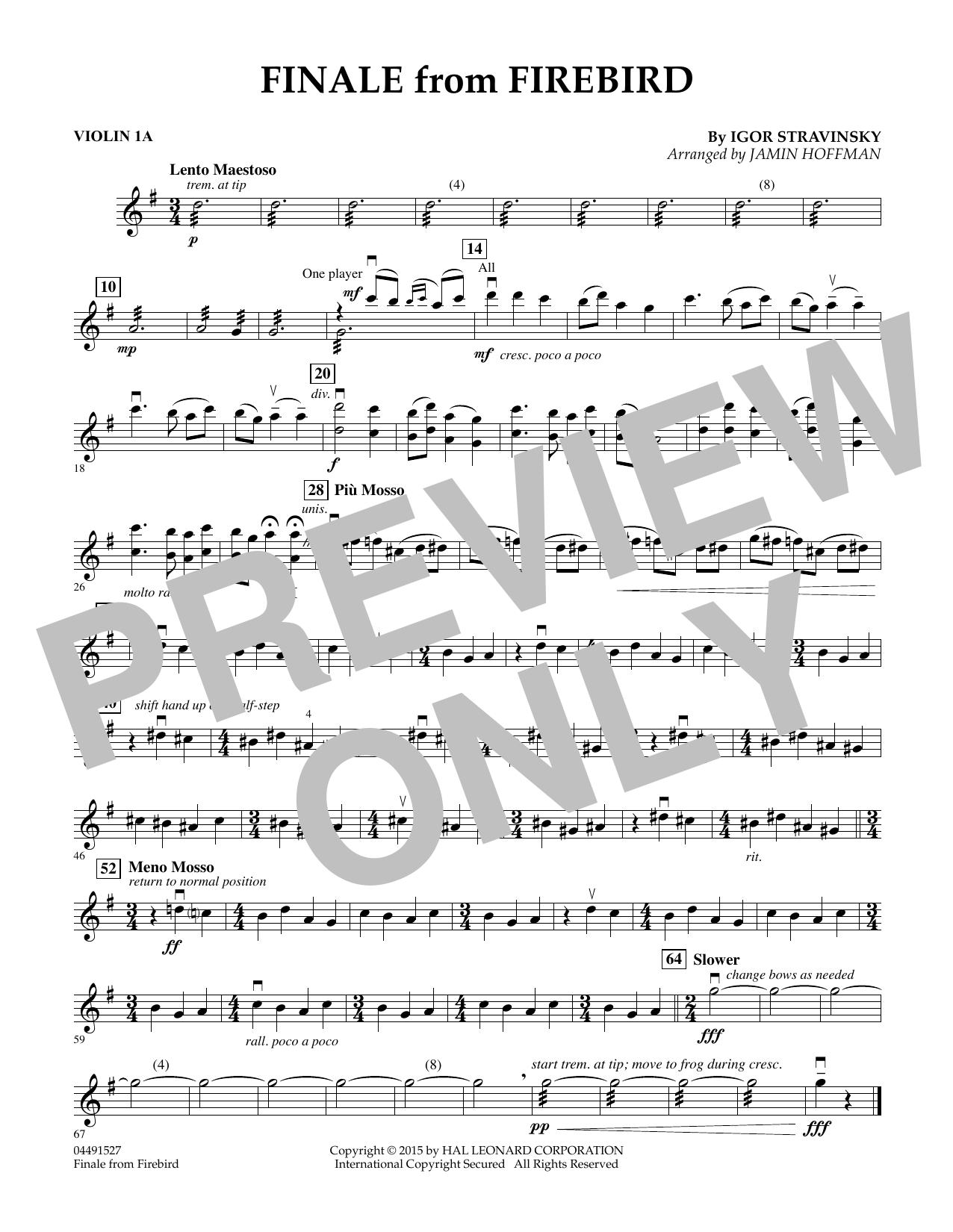 Finale from Firebird (arr. Jamin Hoffman) - Violin 1A (Orchestra)