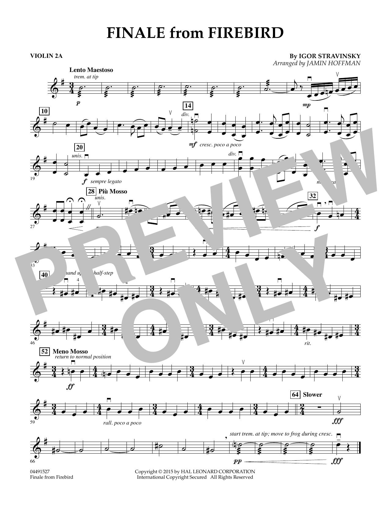 Finale from Firebird (arr. Jamin Hoffman) - Violin 2A (Orchestra)