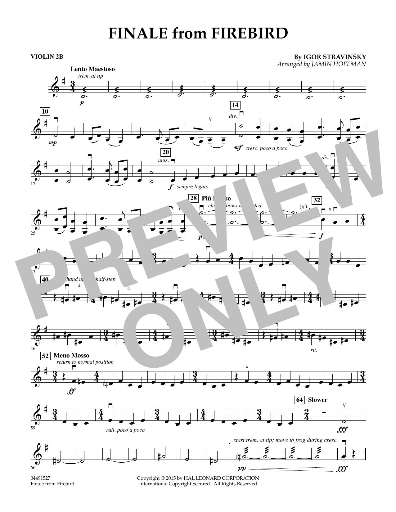 Finale from Firebird (arr. Jamin Hoffman) - Violin 2B (Orchestra)