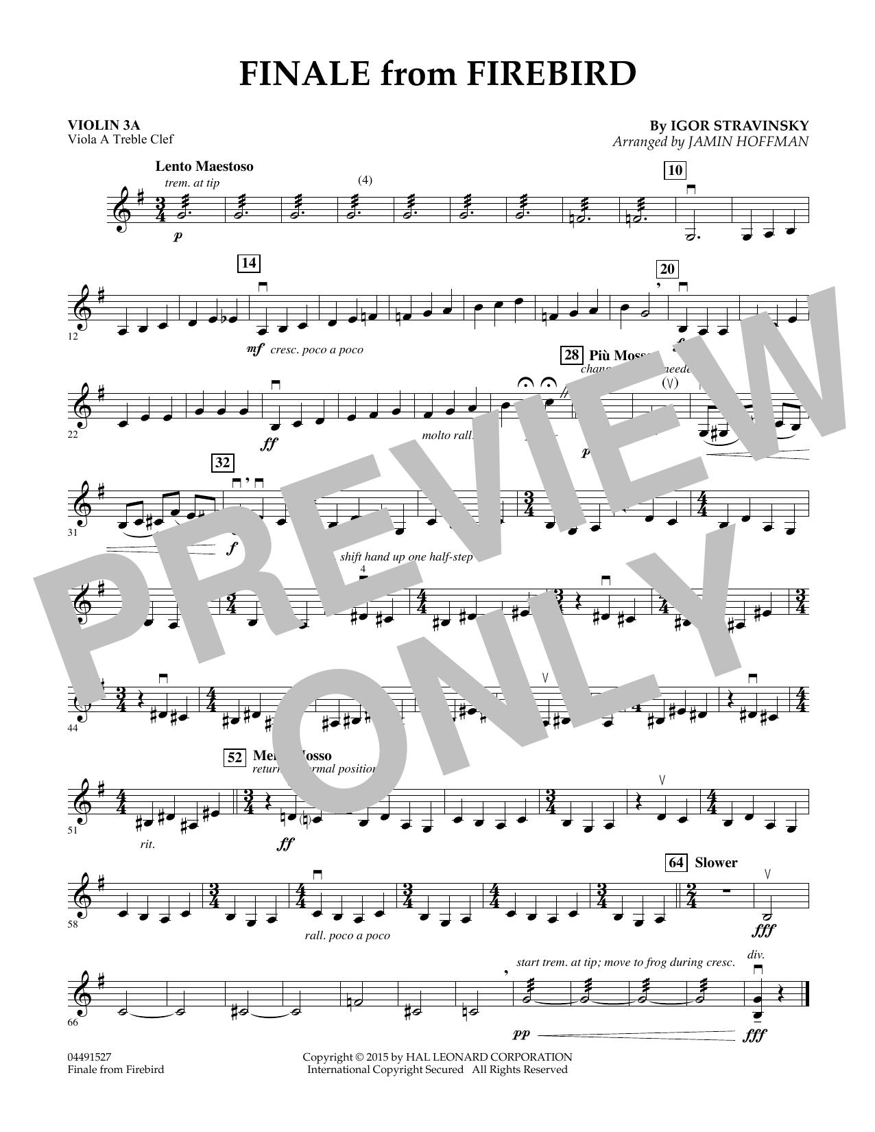 Finale from Firebird (arr. Jamin Hoffman) - Violin 3A (Orchestra)