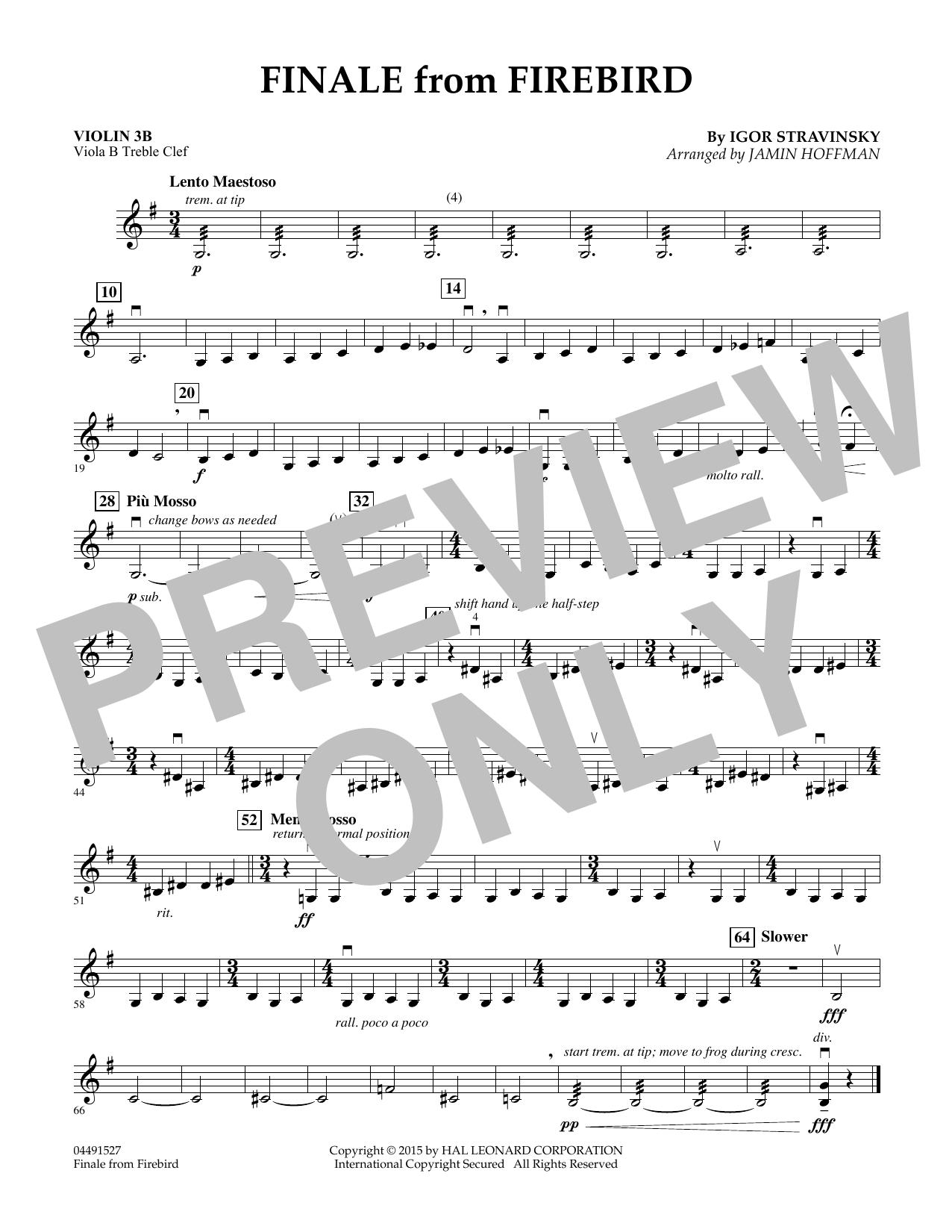 Finale from Firebird (arr. Jamin Hoffman) - Violin 3B (Orchestra)