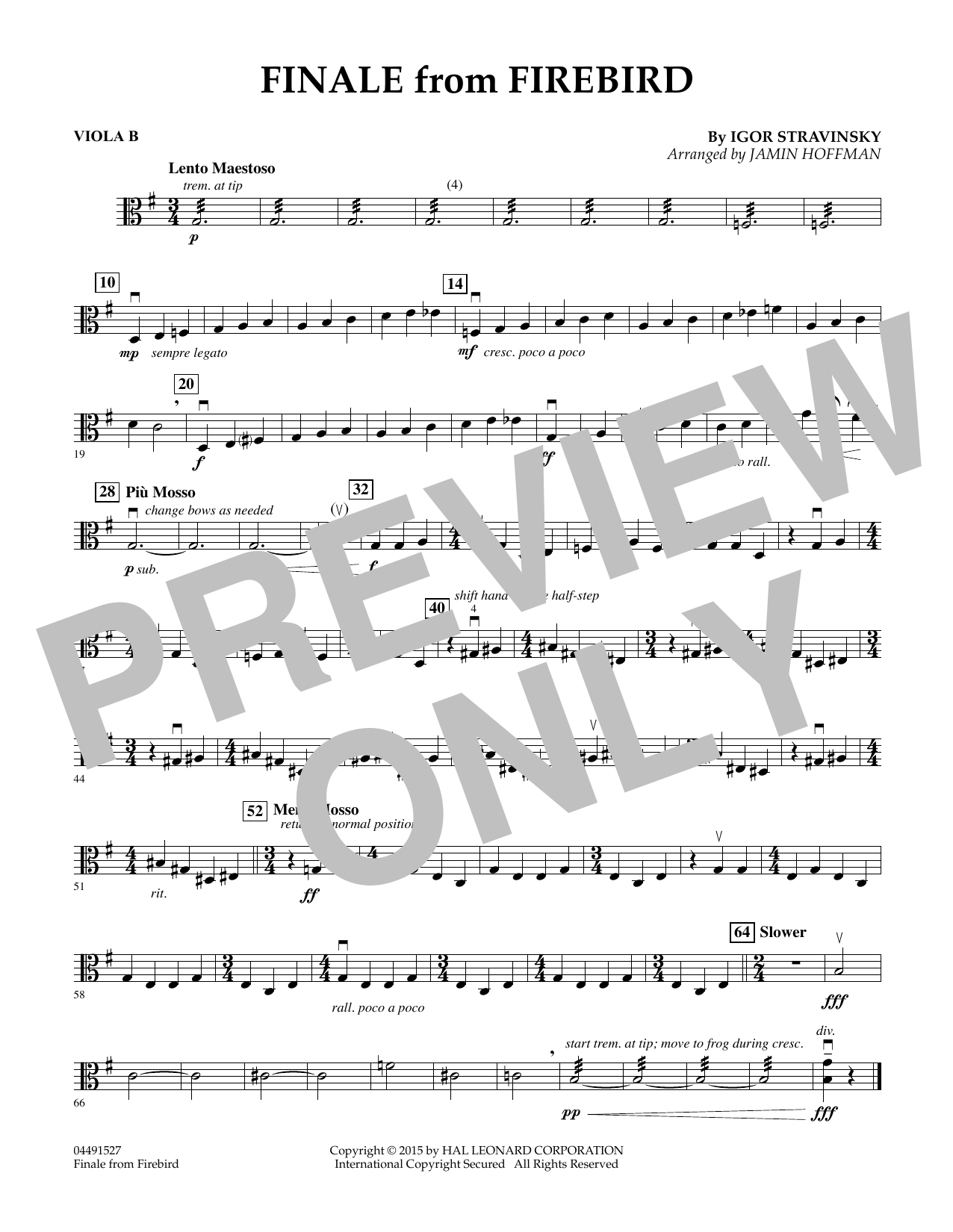 Finale from Firebird (arr. Jamin Hoffman) - Viola B (Orchestra)