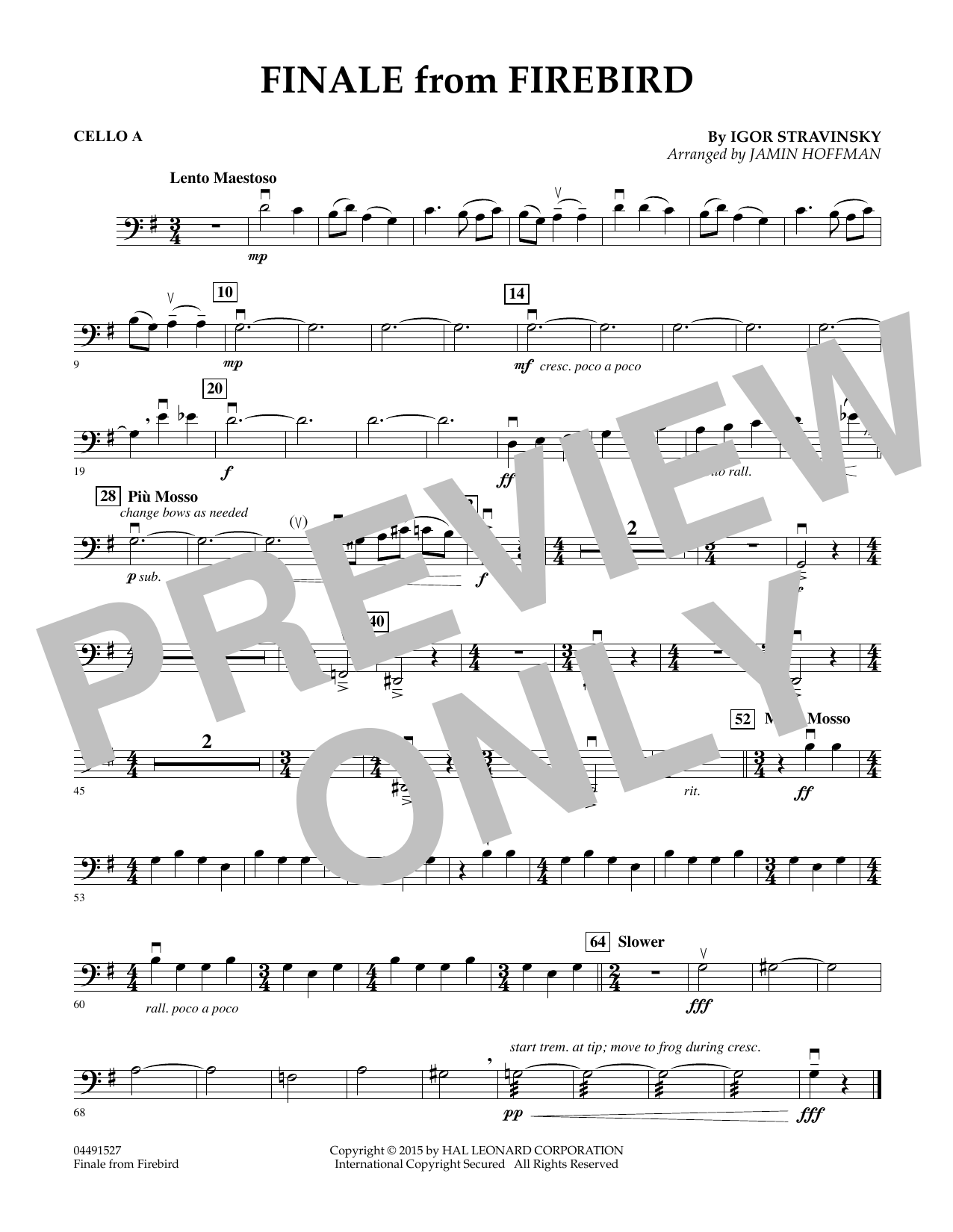 Finale from Firebird (arr. Jamin Hoffman) - Cello A (Orchestra)