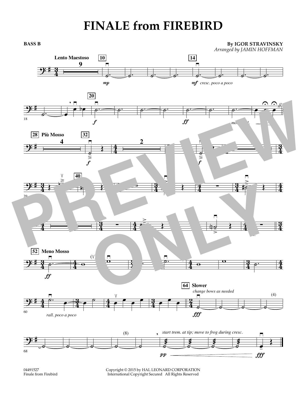 Finale from Firebird (arr. Jamin Hoffman) - Bass B (Orchestra)