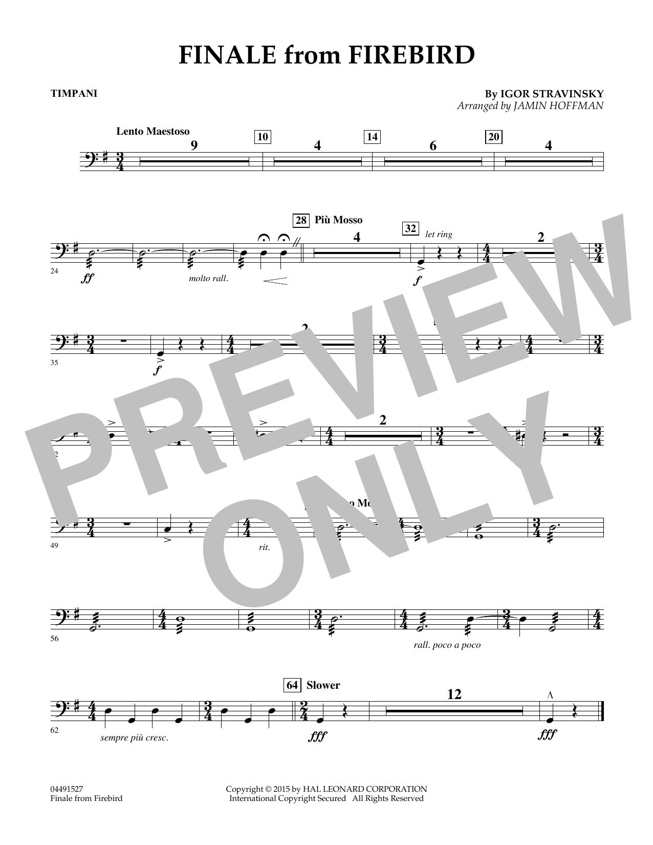 Finale from Firebird (arr. Jamin Hoffman) - Timpani (Orchestra)