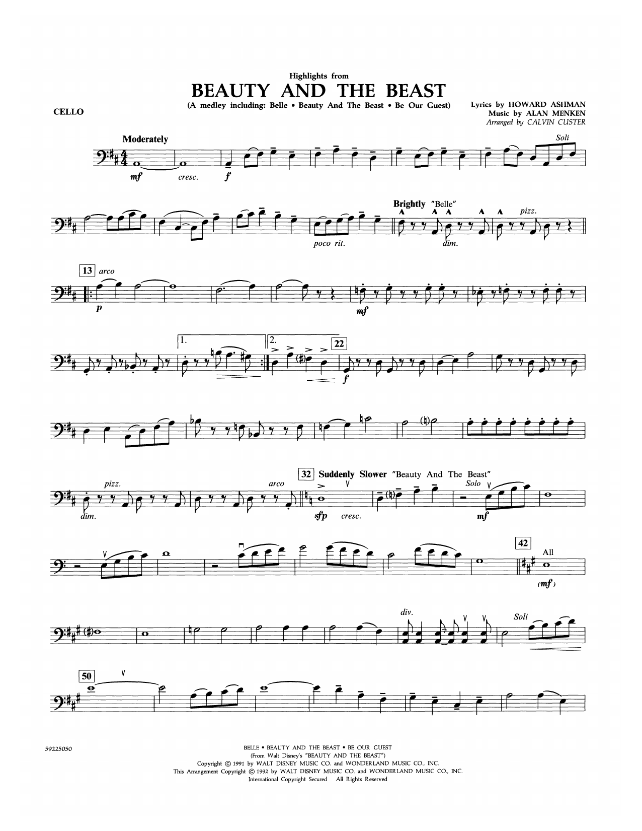 Beauty and the Beast Highlights (arr. Calvin Custer) - Cello (Orchestra)