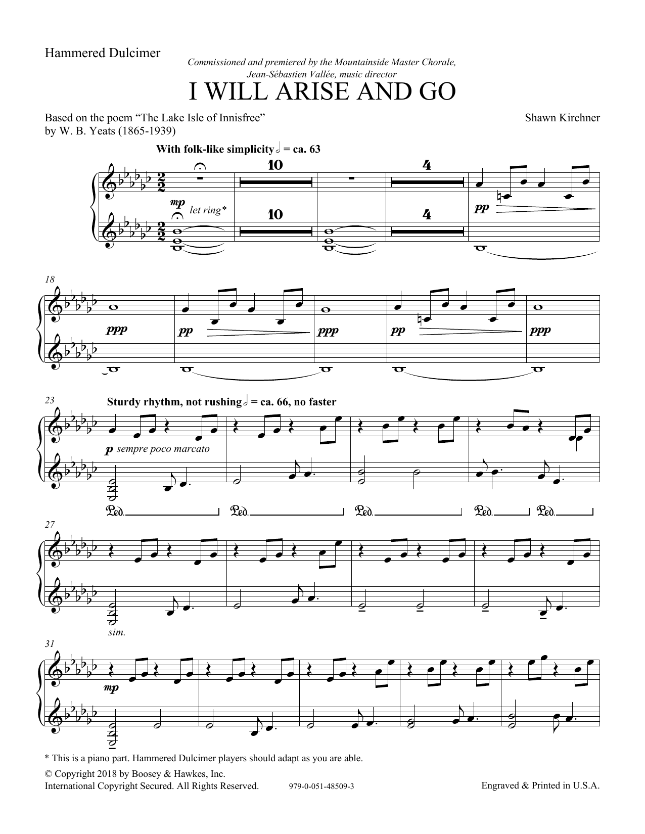I Will Arise and Go - Hammered Dulcimer (Choir Instrumental Pak)